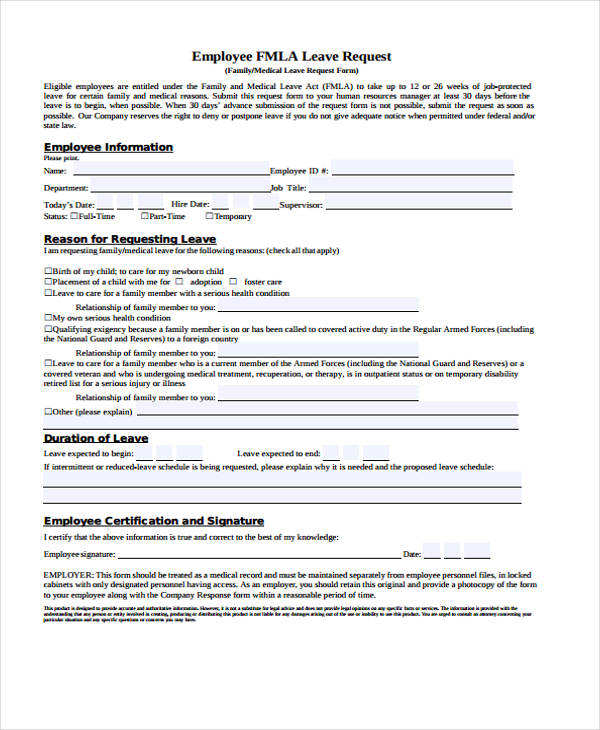 FMLA Request For Leave Form  Leave Request Form Template