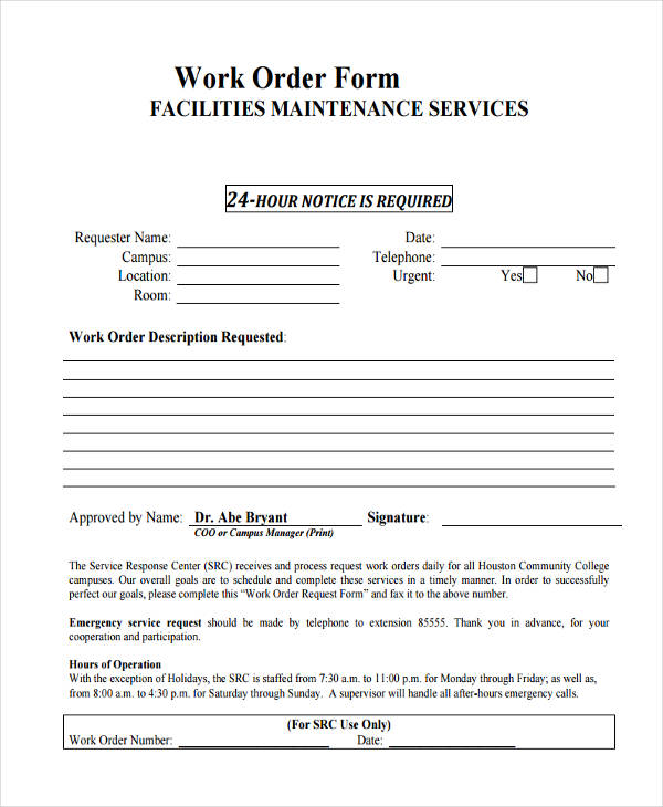 facilities maintenance work order form
