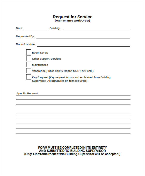 maintenance work order forms