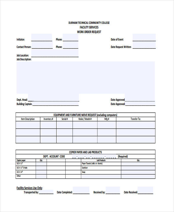 facility services work order request form