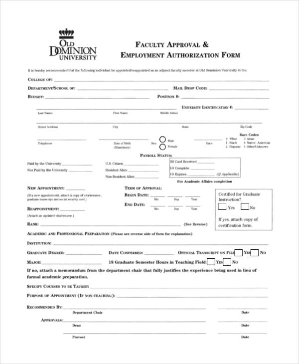 faculty approval employment authorization form