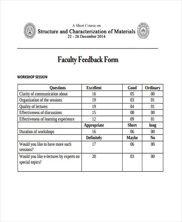 faculty feedback form