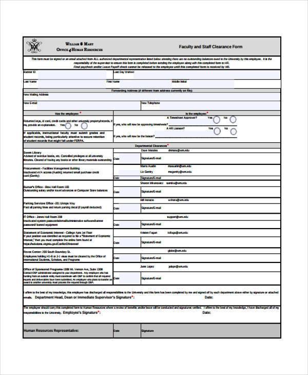 faculty hr clearance form