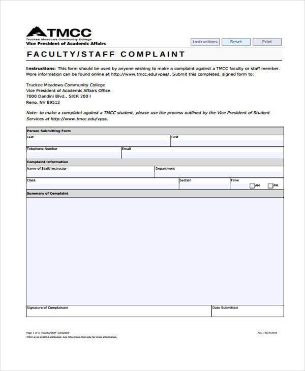 faculty staff complaint form