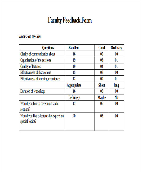 Student Feedback Form In Doc. Sample Faculty Feedback Forms Free ...