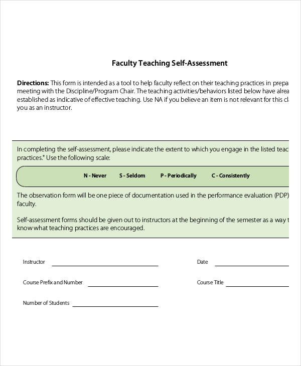 faculty teaching self assessment form