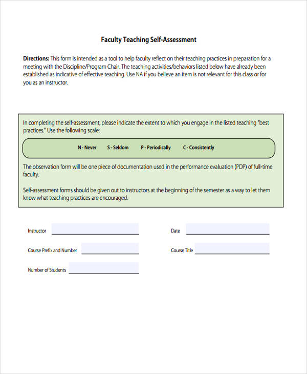 faculty teaching self assessment form2