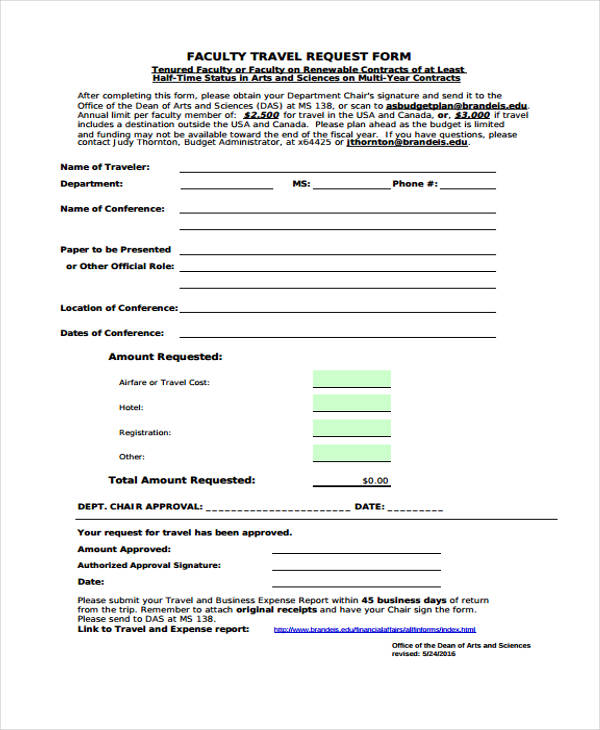 faculty travel request form