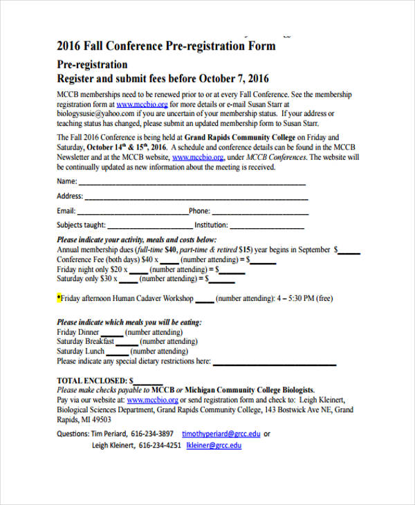 fall conference pre registration form1
