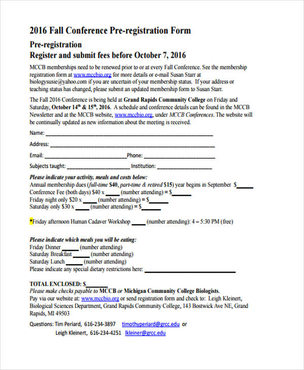 fall conference pre registration form2