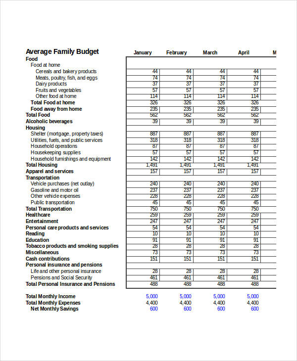 family budget form in excel