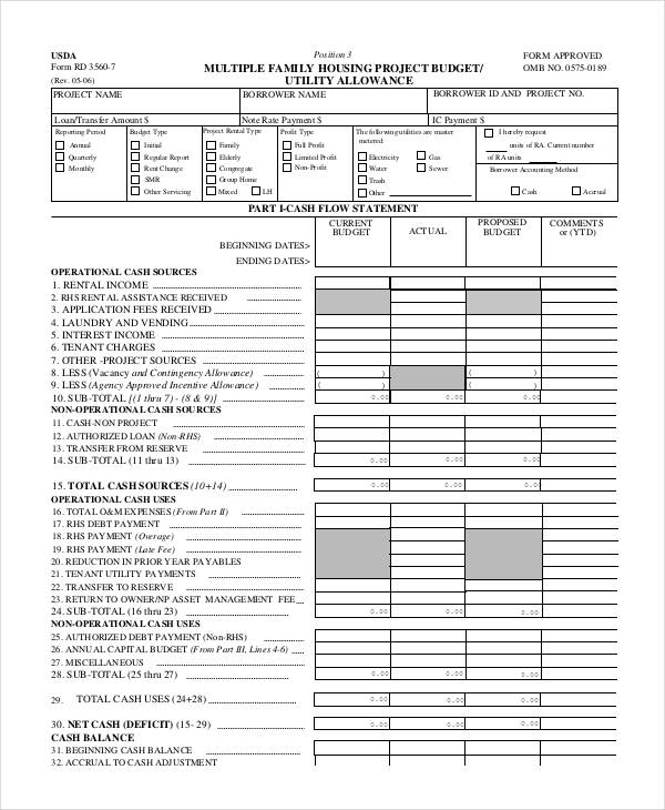 family housing budget form