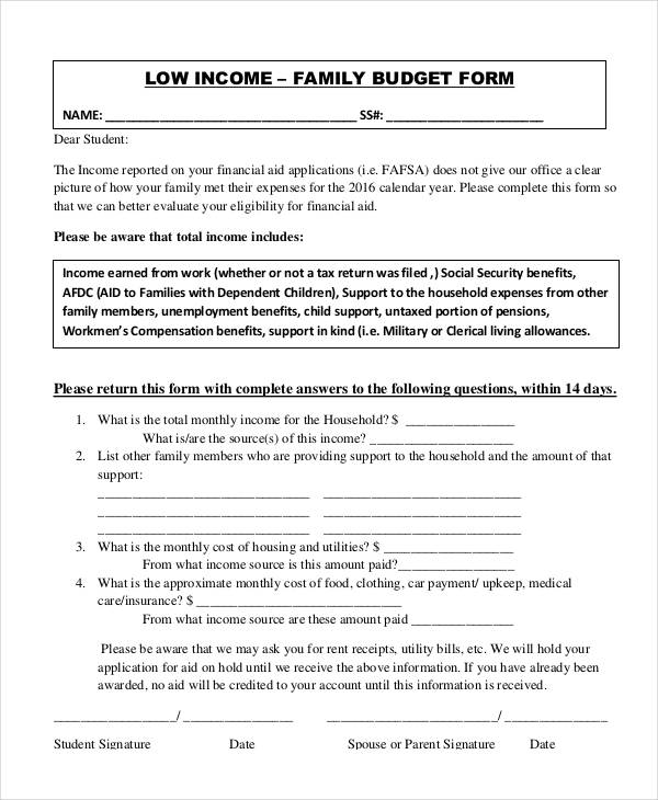 family income budget form