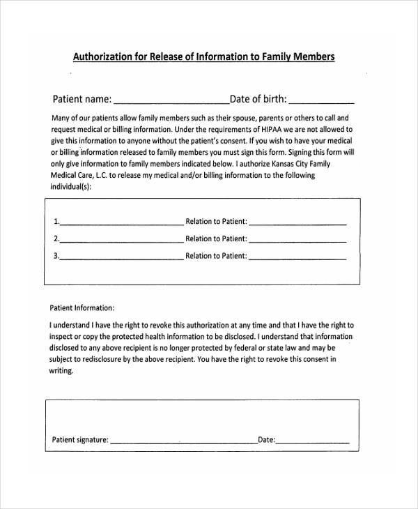 family member information release authorization form