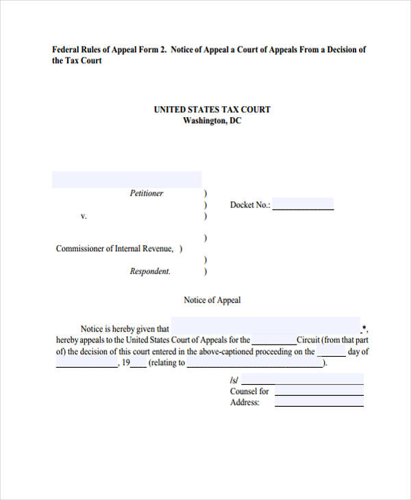 federal notice of appeal form