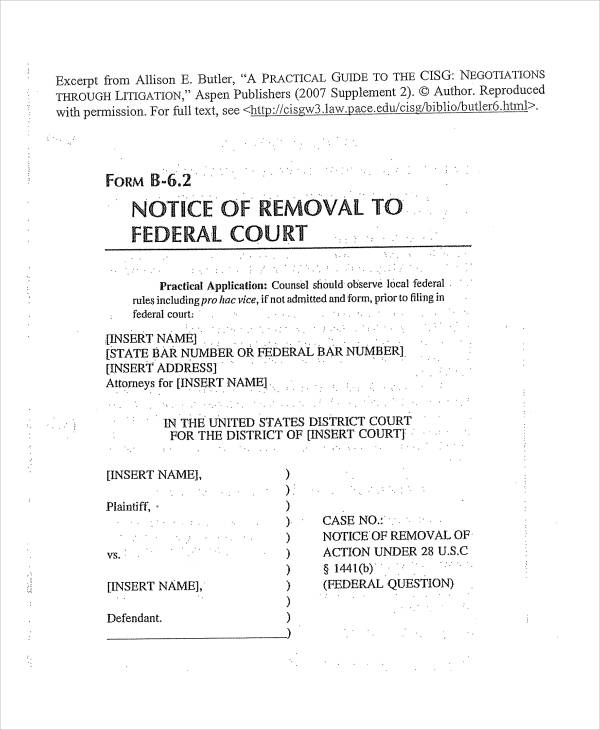 federal notice of removal form