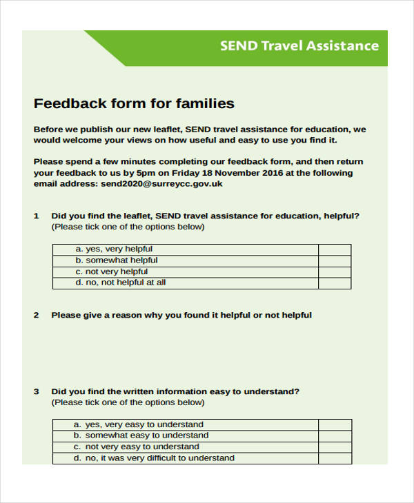 feedback form format for travel company