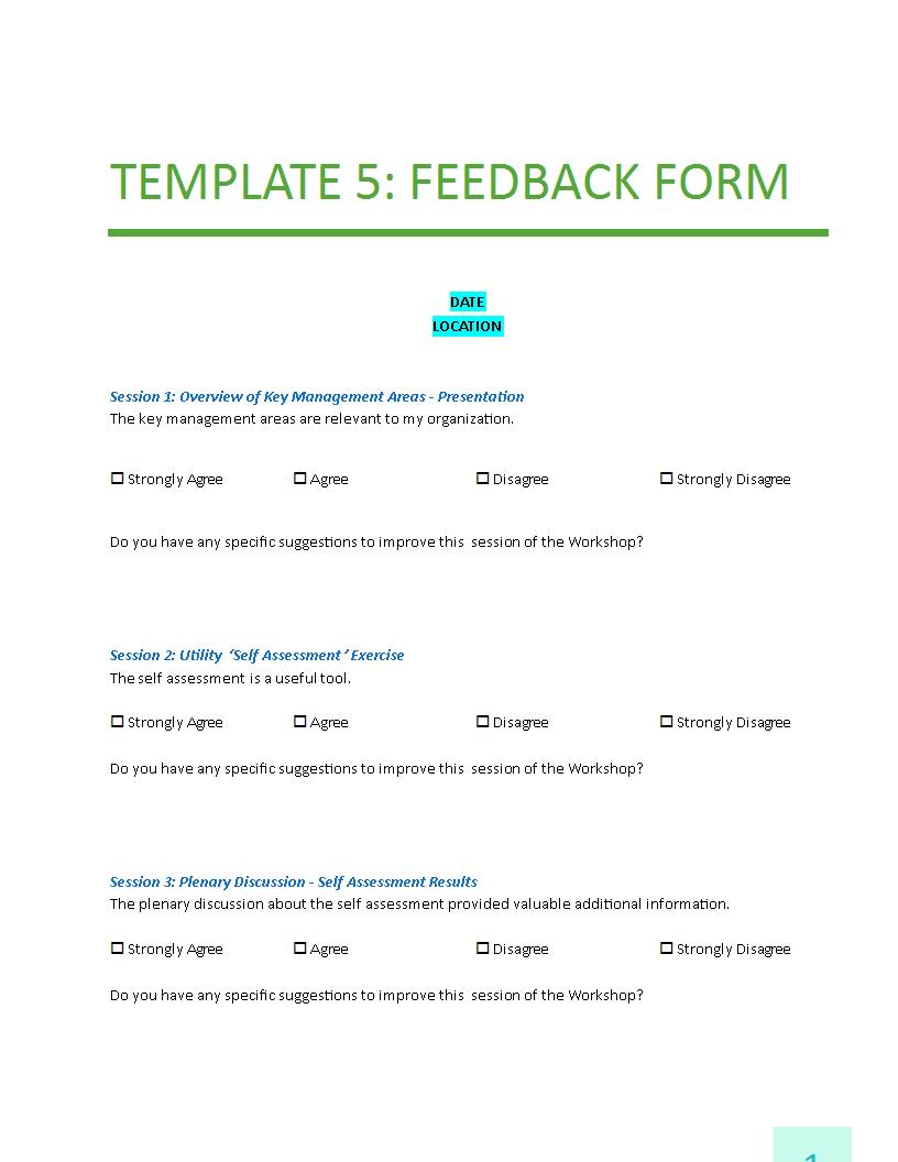 The Purpose of Feedback Forms – Sample Feedback Form Template
