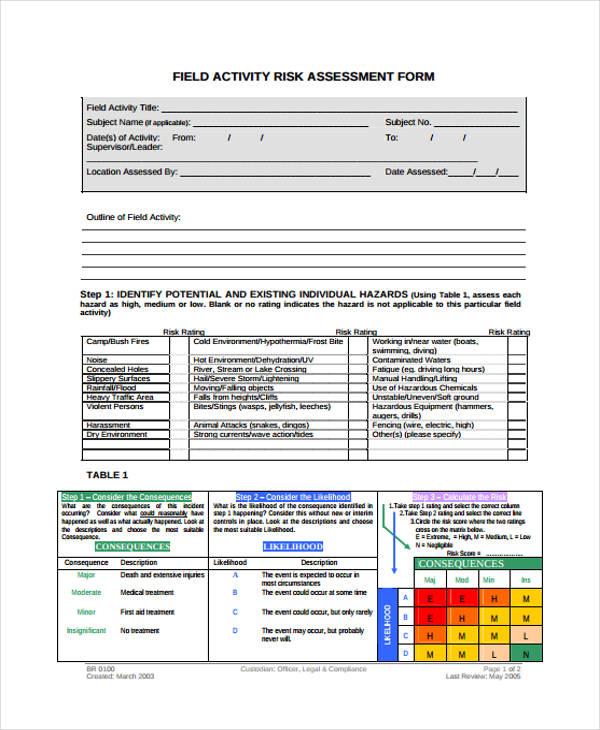 Activity Risk Essment Template | Field Activity Risk Assessment Form