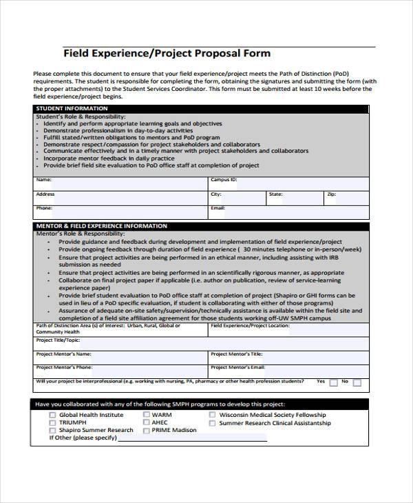 Project Proposal Form Samples  Free Sample Example Format