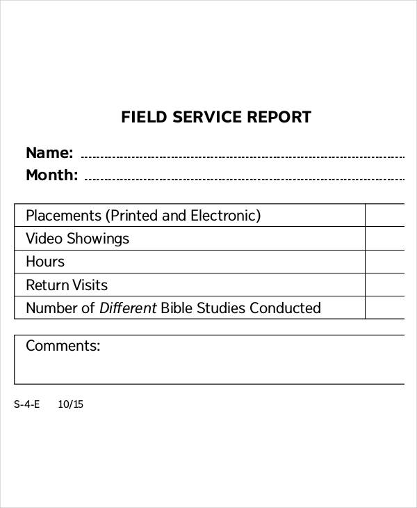 field service report form1