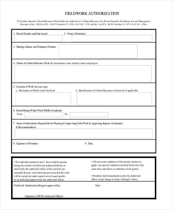 field work authorization form