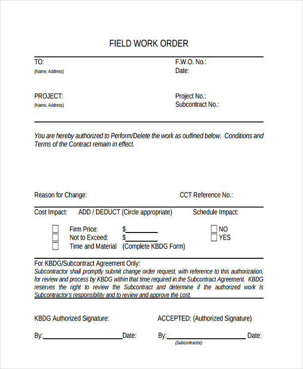 field work order form in pdf