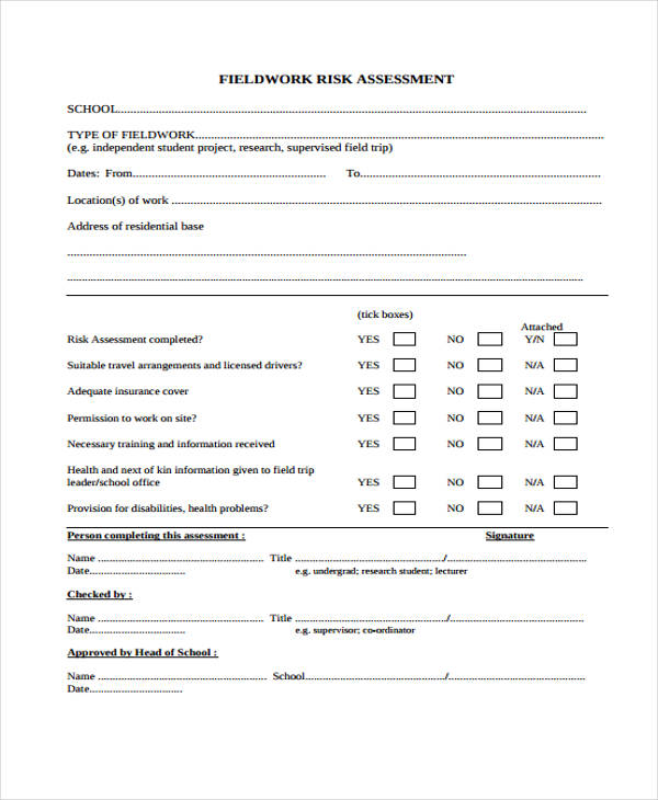 field work risk assessment form