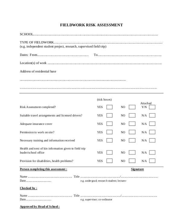 field work risk assessment form1