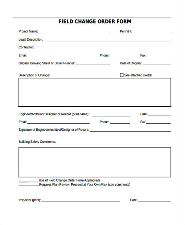 filed change order form