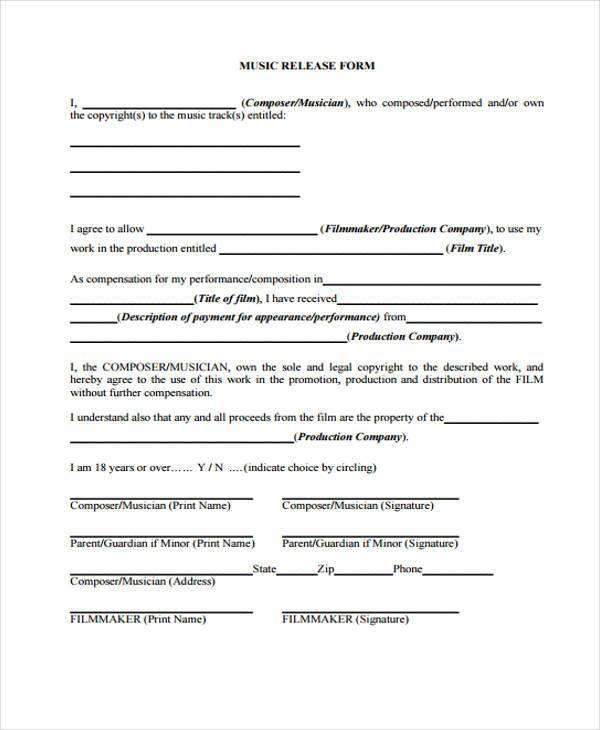 Sample Film Release Forms   Free Documents In Word Pdf