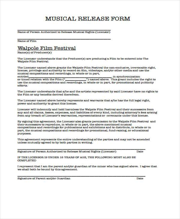 Sample Film Release Forms - 8+ Free Documents In Word, Pdf