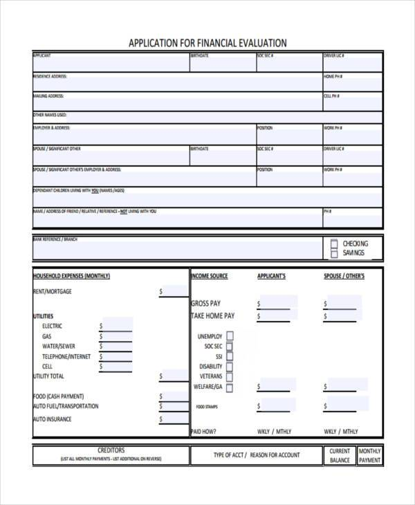 financial application evaluation form