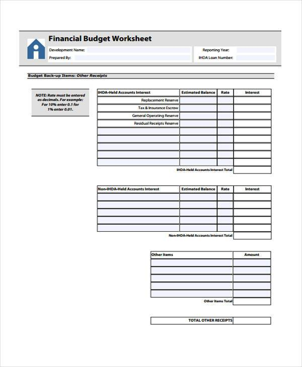 financial budget worksheet form1