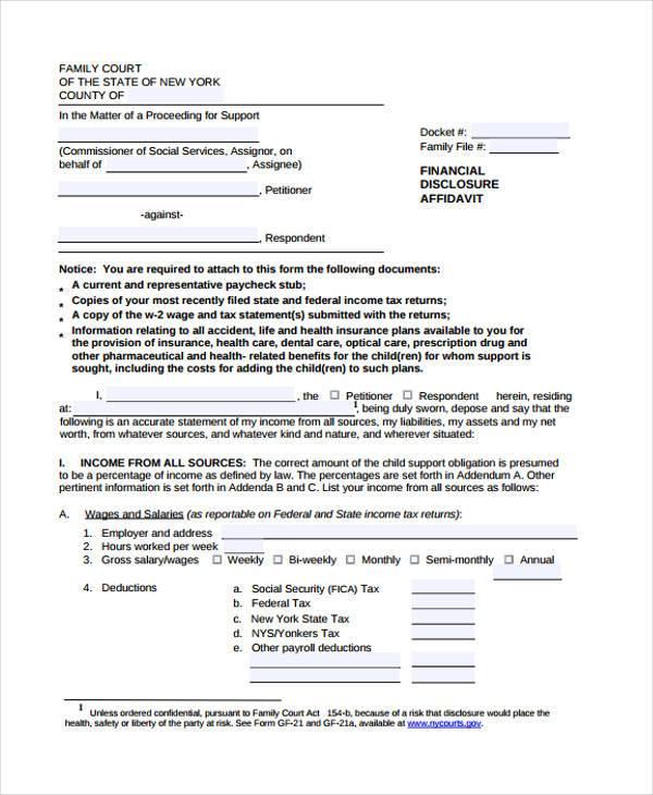 financial disclosure affidavit form