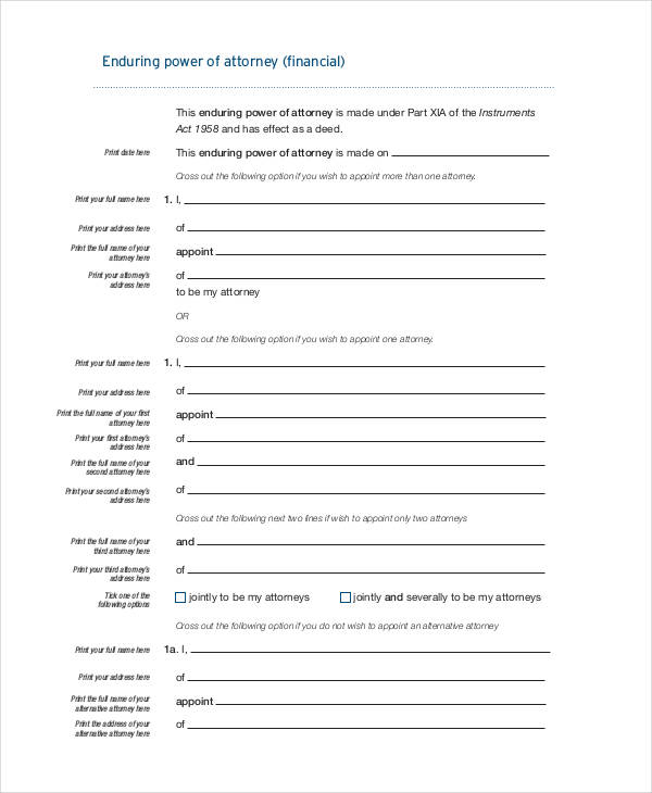 financial enduring power of attorney form2