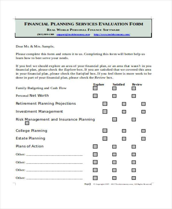 financial planning services evaluation form