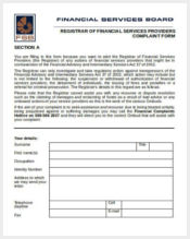 financial registrar complaint form