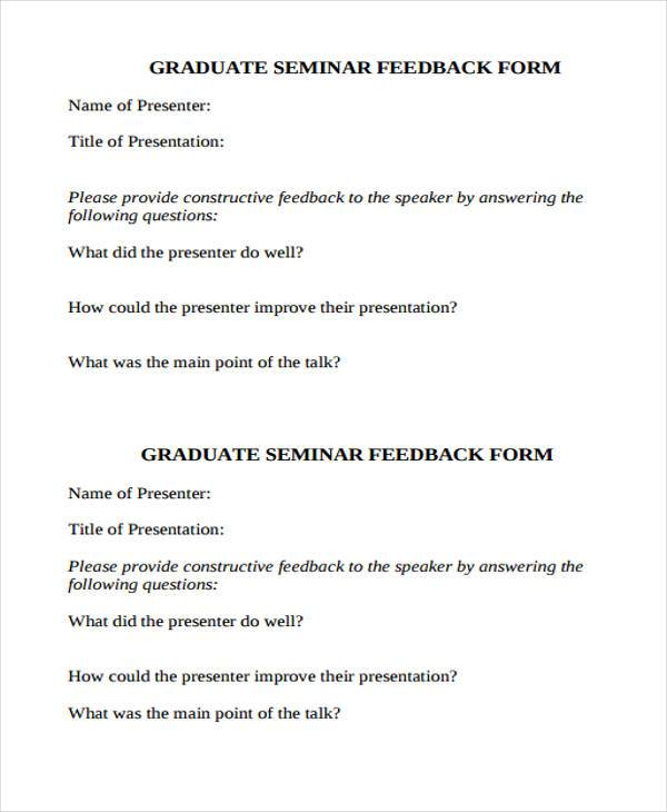 Feedback Form Templates – Speaker Feedback Form