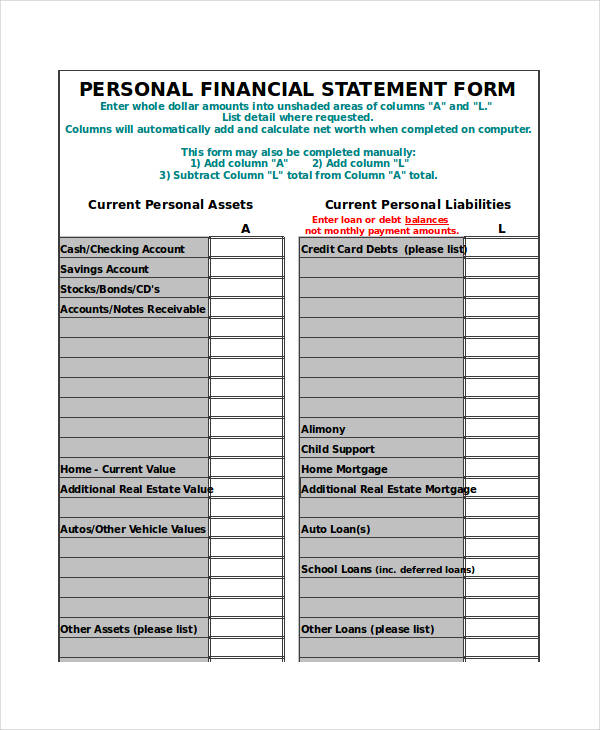 financial statement form excel