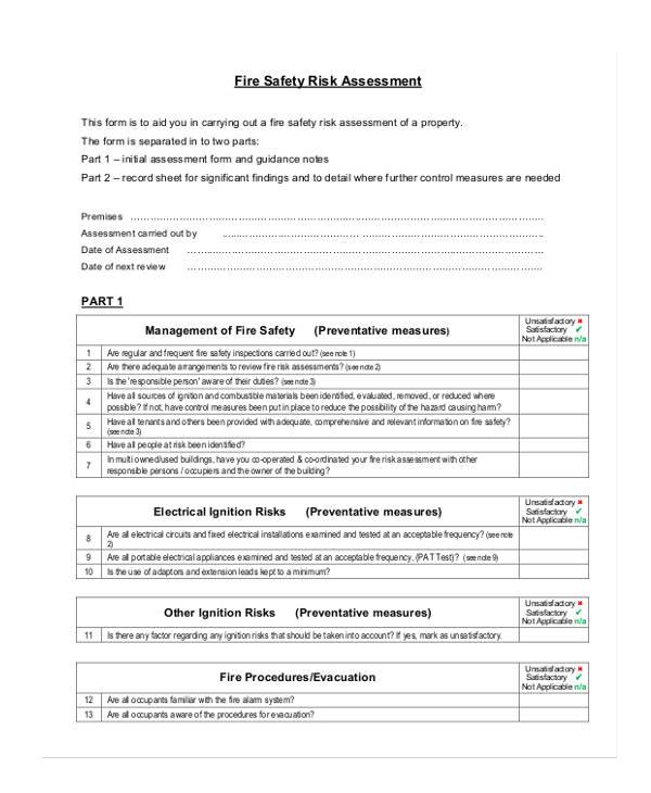 fire safety risk assessment form4
