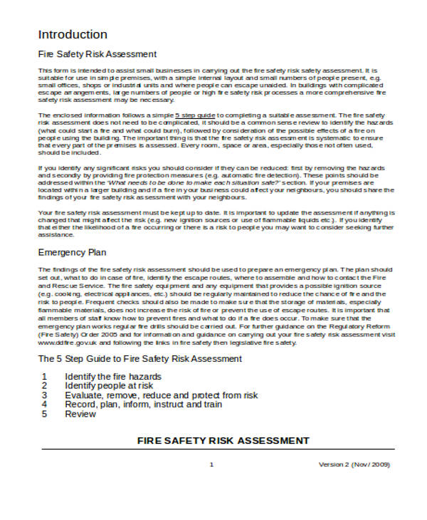 Free Risk Assessment Forms