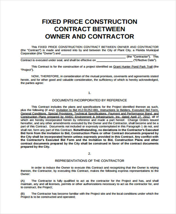 fixed price construction contract agreement form