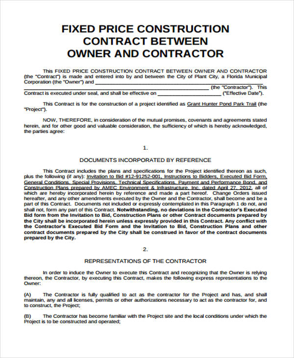 25 contract agreement forms in pdf for Fixed price construction contract template