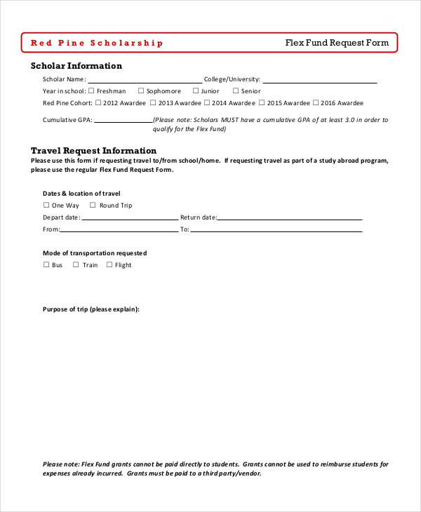 flex fund travel request form