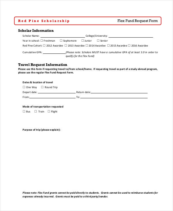 flex fund travel request form1