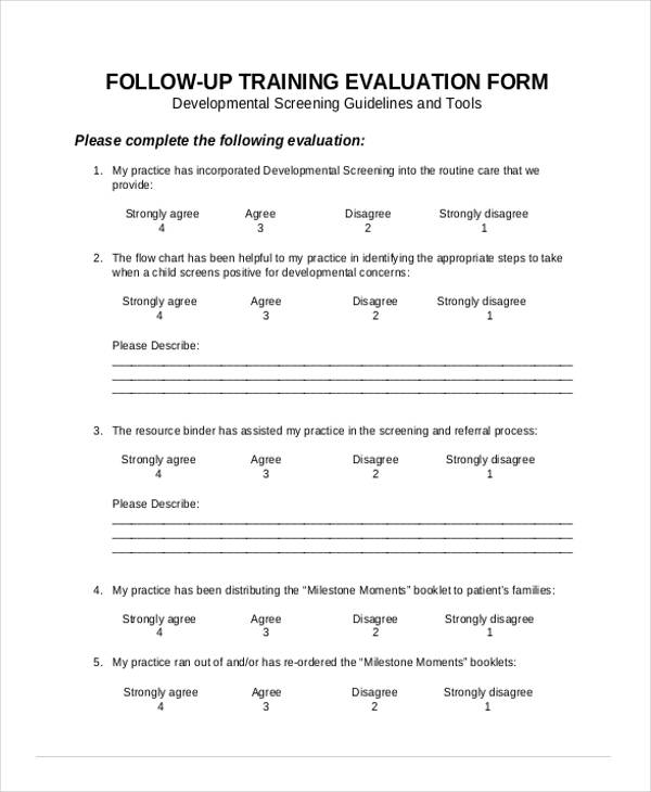 follow up training evaluation form