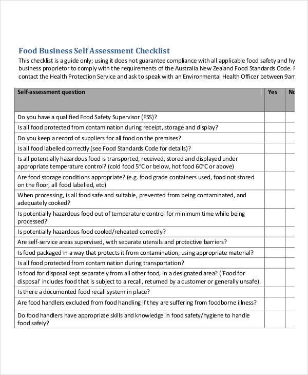 food business self assessment checklist