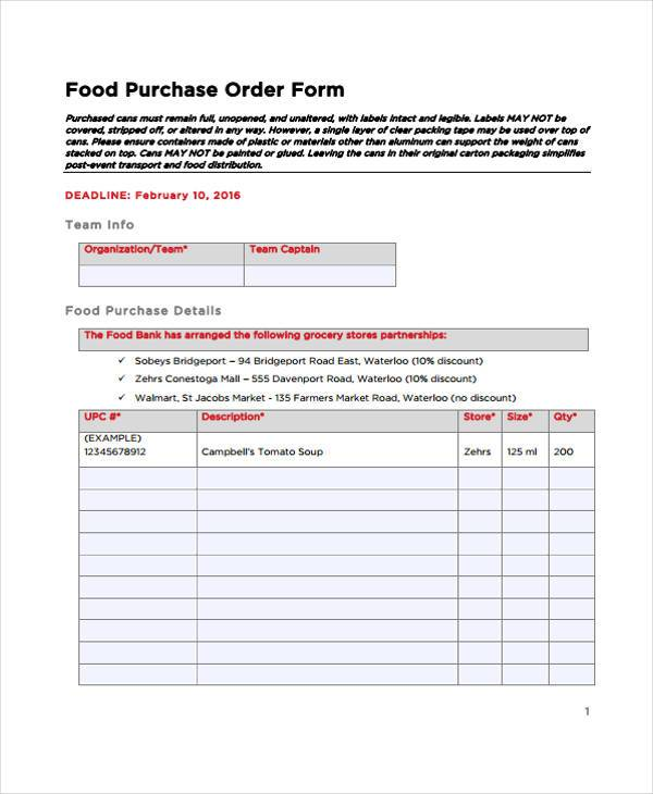 food purchase order form
