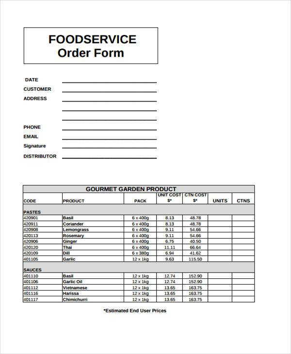 food service order form sample